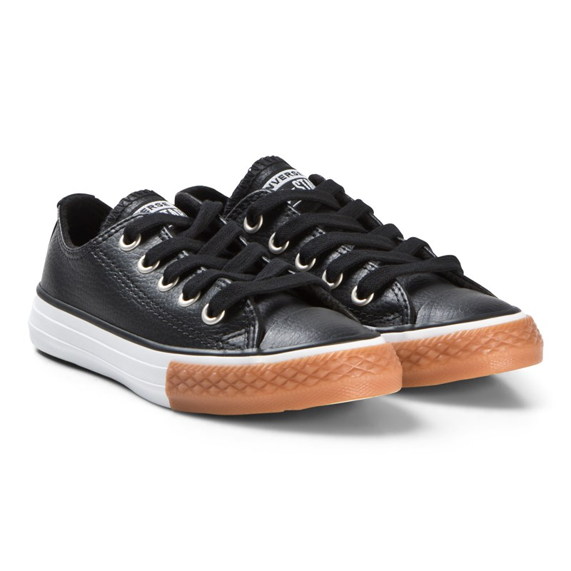 Converse Black Chuck Taylor All Star OX Junior Leather Trainers 38 (UK 5.5)