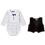 Max Collection Smoking Baby Body med Väst Vit/Svart