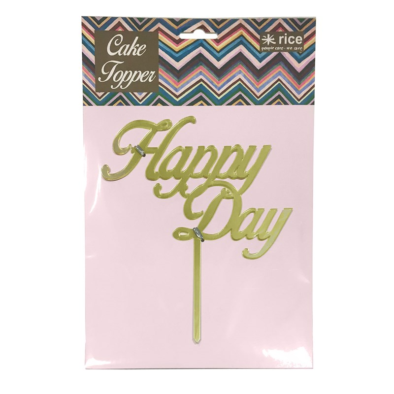 RiceCake Topper Happy Day Gold