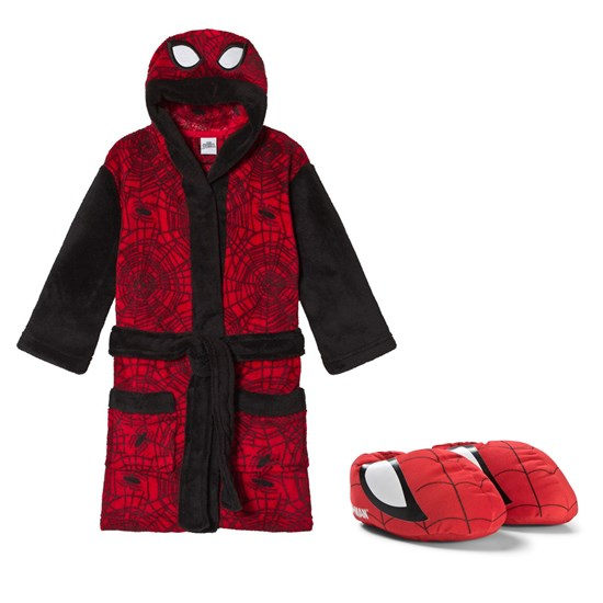 Spider-Man Paket Disney® Spiderman Tofflor + Badrock Svart/Röd