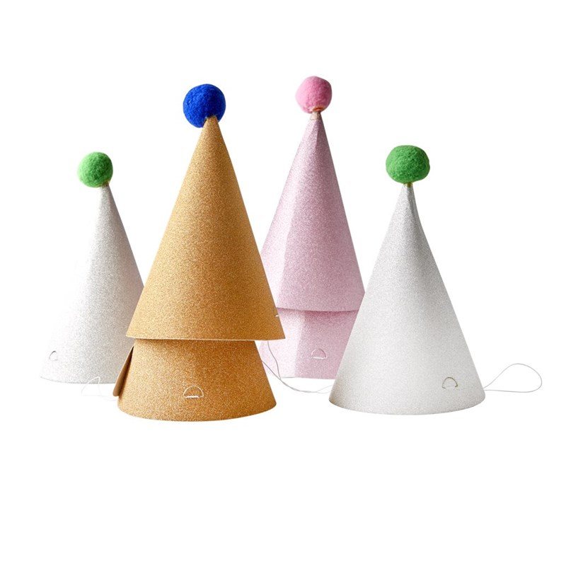 Rice 6-Pack Partyhatt med Tofs Pink/Guld/Silver One Size