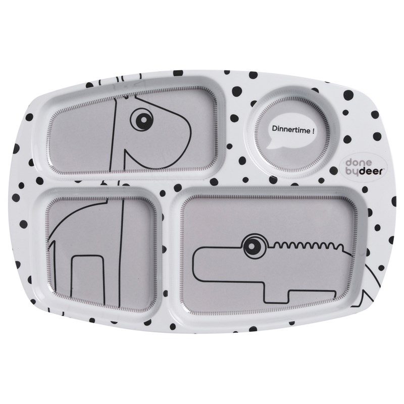 Done by Deer Compartment Plate Happy Dots Grey One Size