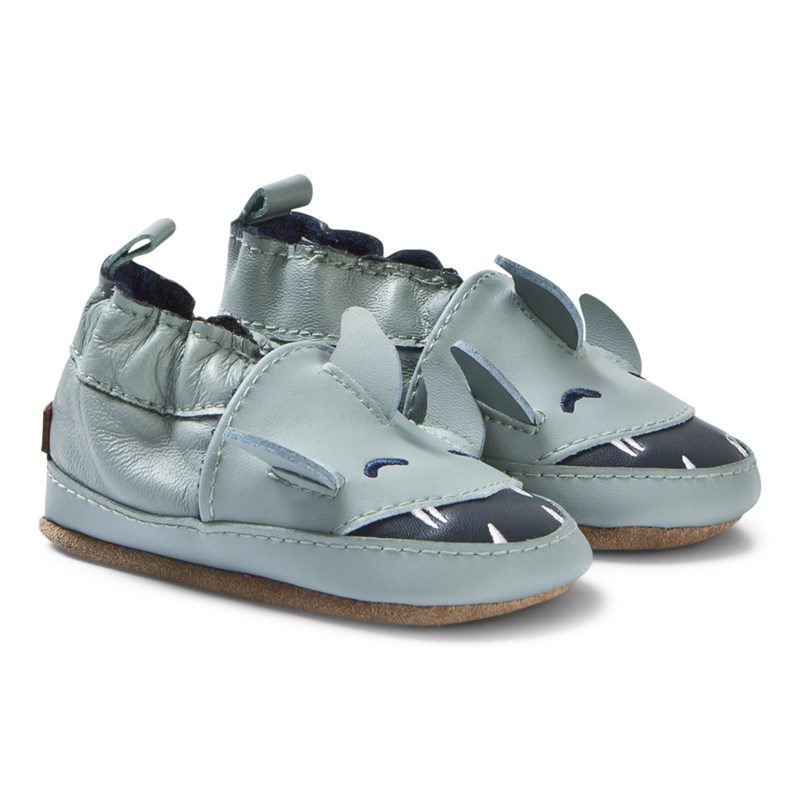 Melton Leather shoe - Shark Pastel Blue 0-6M/16-19