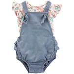 Carter's 2-Delat Floral T-Shirt och Bubble Romper Set