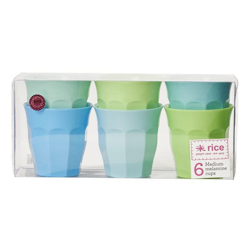 Rice Small Melamine Curved Cup in 6 Assorted 50 Shades of Blue One Size