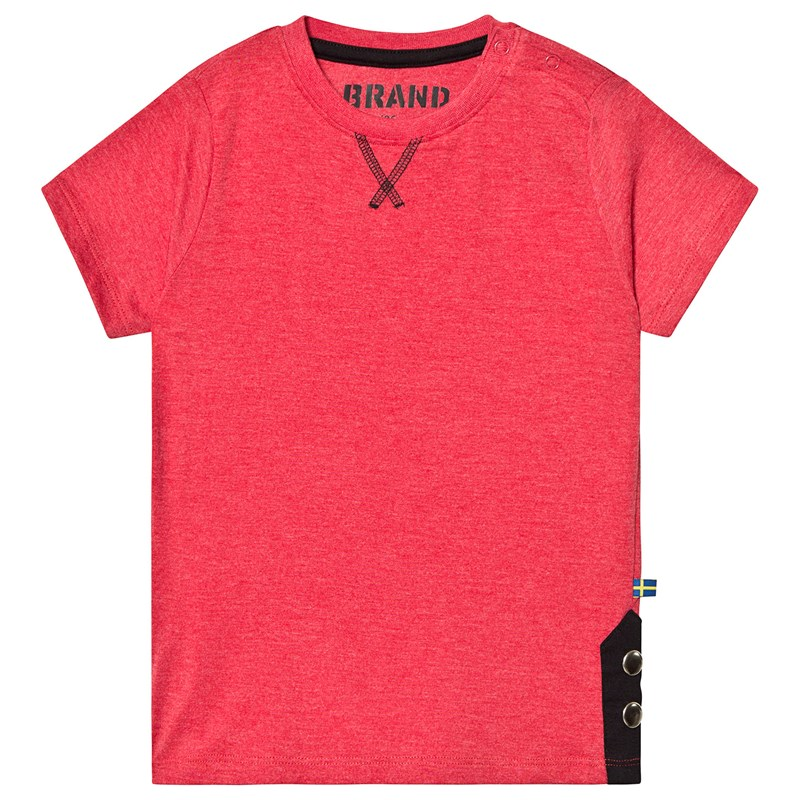 TEE W BUTTONS RED MELANGE92/98 cm