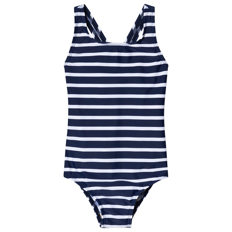Navy and White Stripe Swimsuit12-13 years