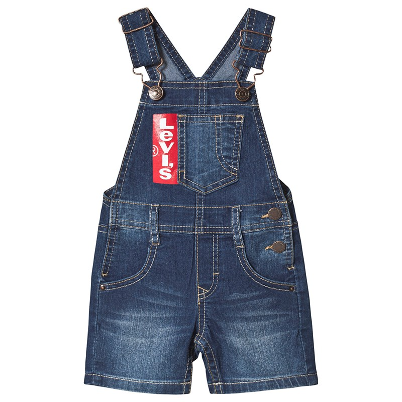 Blue Mid Wash Logo Dungarees6 months