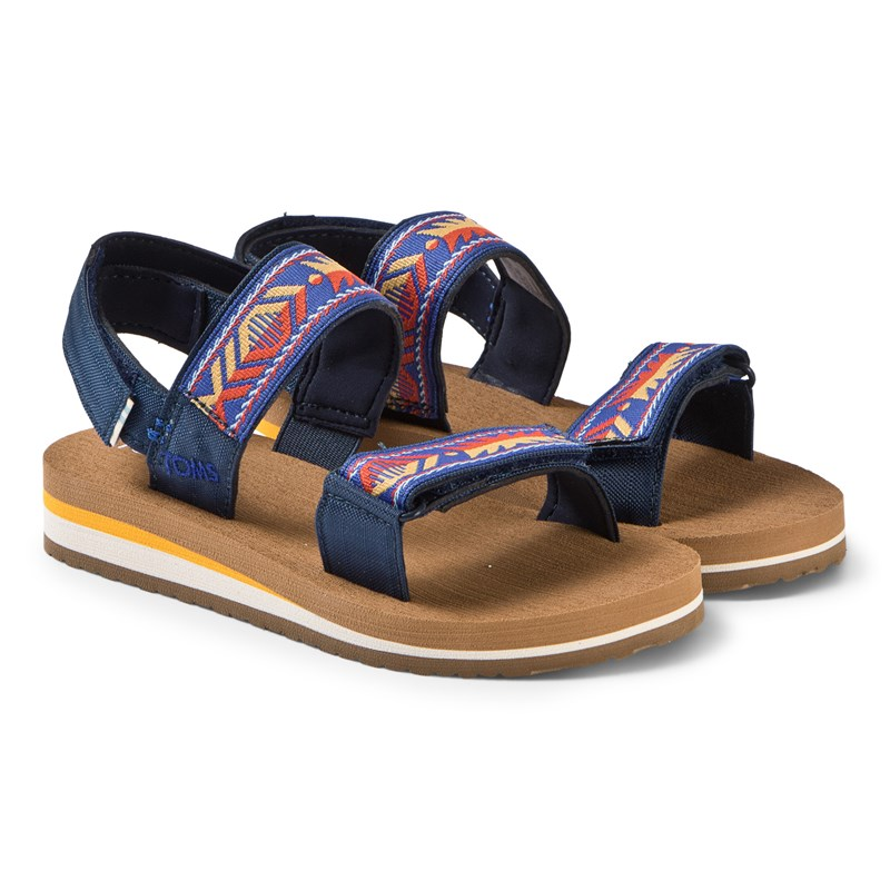Navy Ray Patterned Velcro Sandals37 (UK 4)