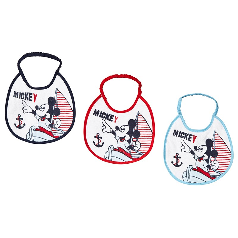 Disney Mickey Mouse 3-Pack Musse Haklapp Blå/Vit One Size
