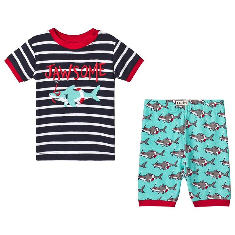 Hatley Snorkeling Sharks Applique Organic Cotton Short Pajama Set 3 years