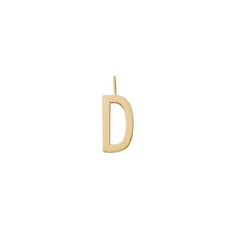Design Letters 16 mm Matt 18K Gold Plated Silver - D One Size