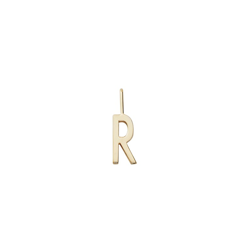 Design Letters 10 mm 18K Gold Plated Silver - R One Size