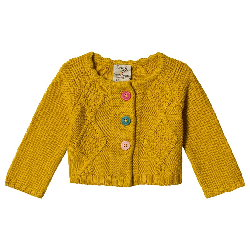Frugi Mustard Cable Knit Cardigan 4-5 years