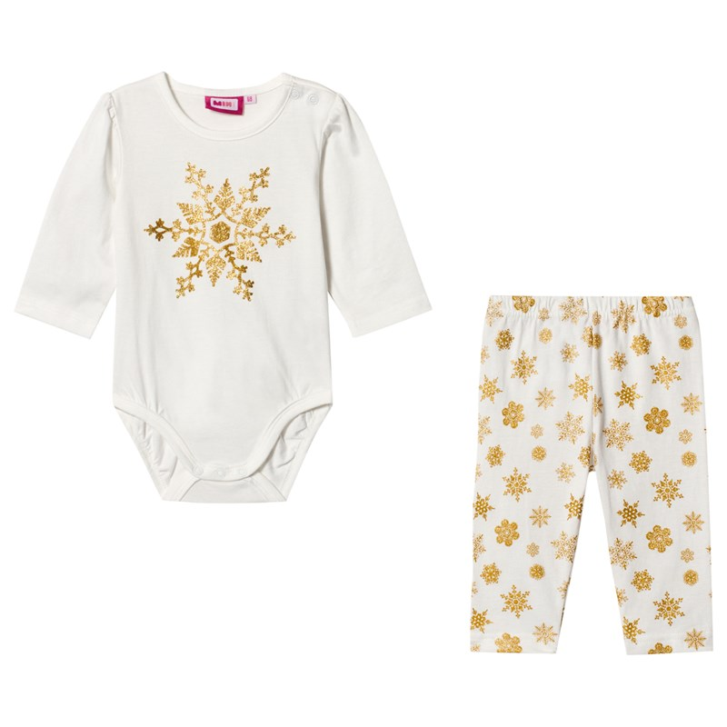 Max Collection Baby Body med Leggings Off WhiteGuld 68 cm