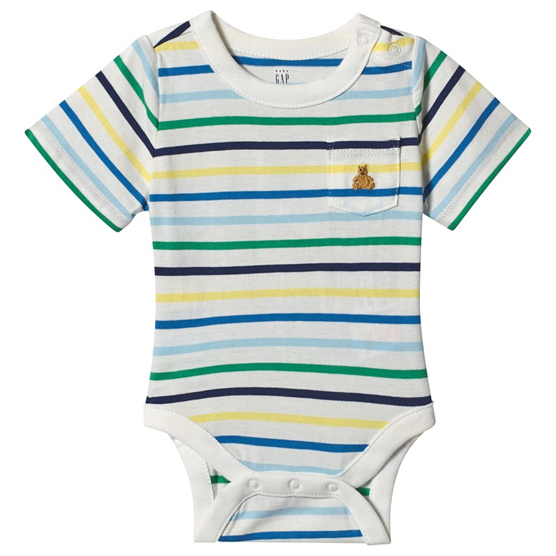 Gap Randig Baby Body New Off White 6-12 mån