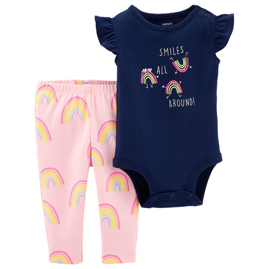 Carter's Regnbåge Baby Body och Leggings Set Marinblå/Rosa