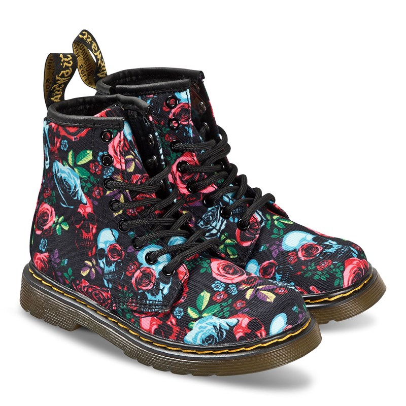 Dr. Martens Black and Pink Floral Canvas 1460 Boots