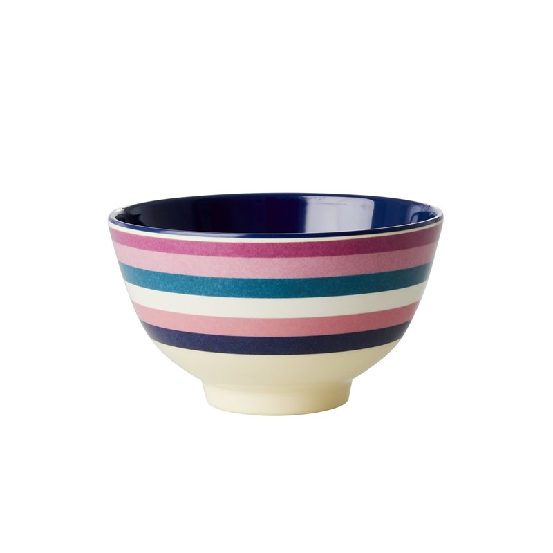 Rice Melamine Bowl with Stripe Print Small One Size