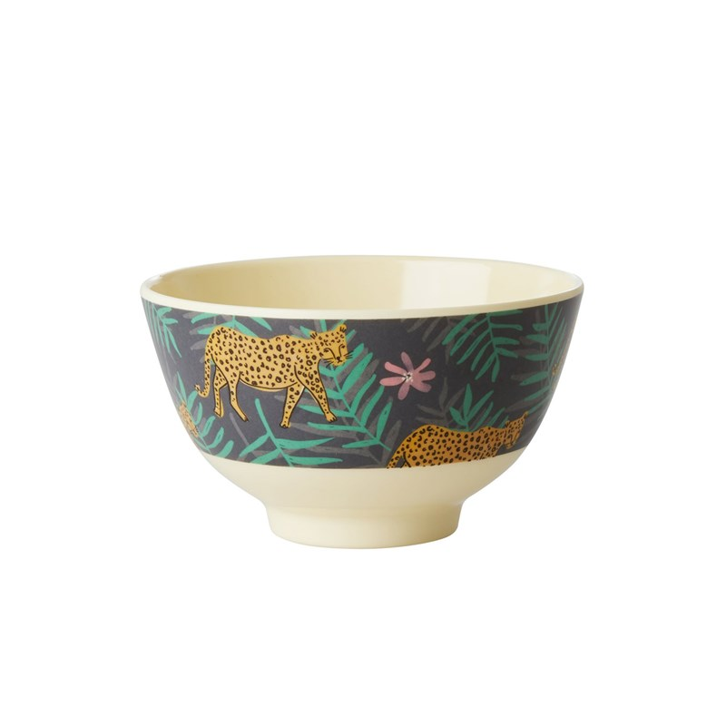 Rice Melamine Bowl with Leopard and Leaves Print Small One Size