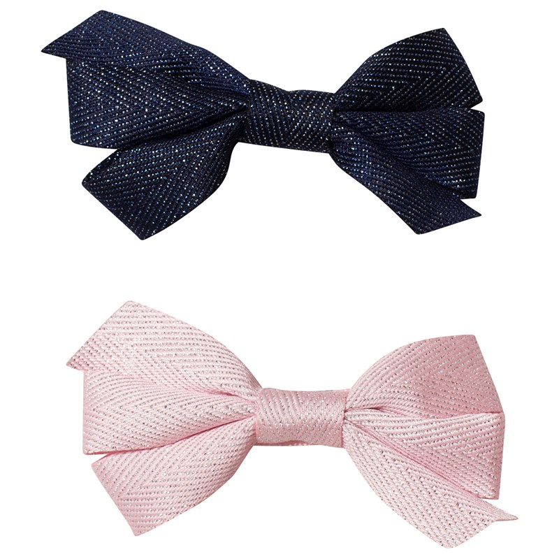 Ciao Charlie Hair Clip Set Bow Glitter Navy + Light Pink One Size