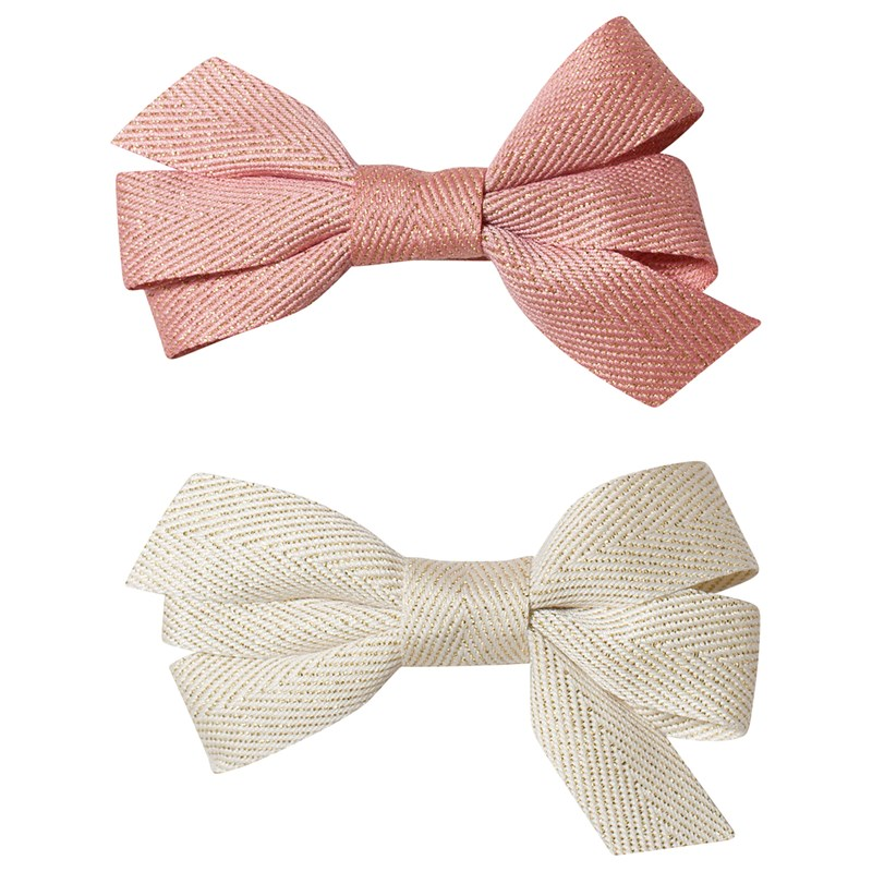 Ciao Charlie Hair Clip Set Bow Glitter Cream + Warm Pink One Size