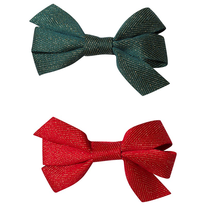 Ciao Charlie Hair Clip Set Bow Glitter Green + Red One Size