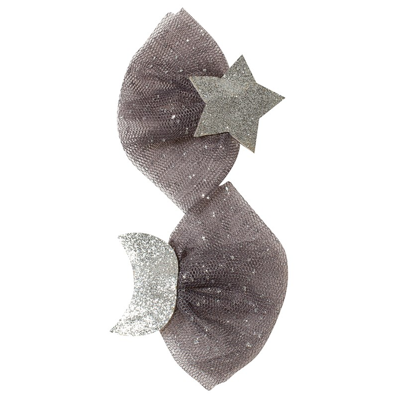 Ciao Charlie Hair Clip Set Star Moon Tulle Glitter Silver One Size