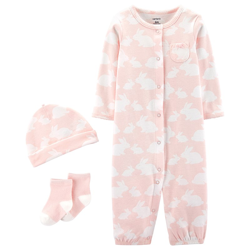 Carter's 3-delar Babysoft Take-Me-Home Set Rosa 6 mån