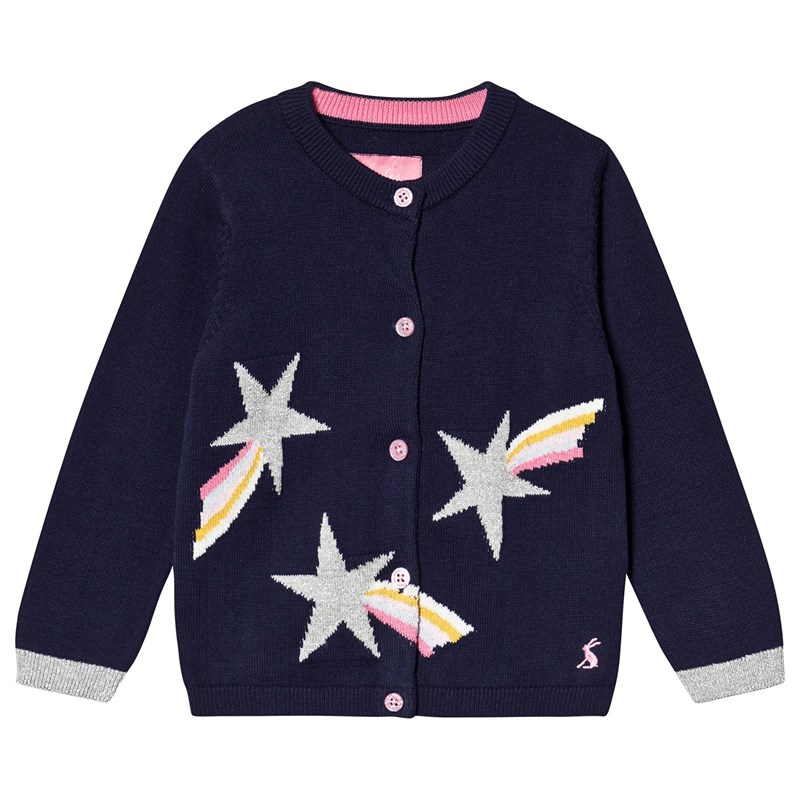 Joules Navy Glitter Shooting Star Madison Knitted Cardigan 1 year