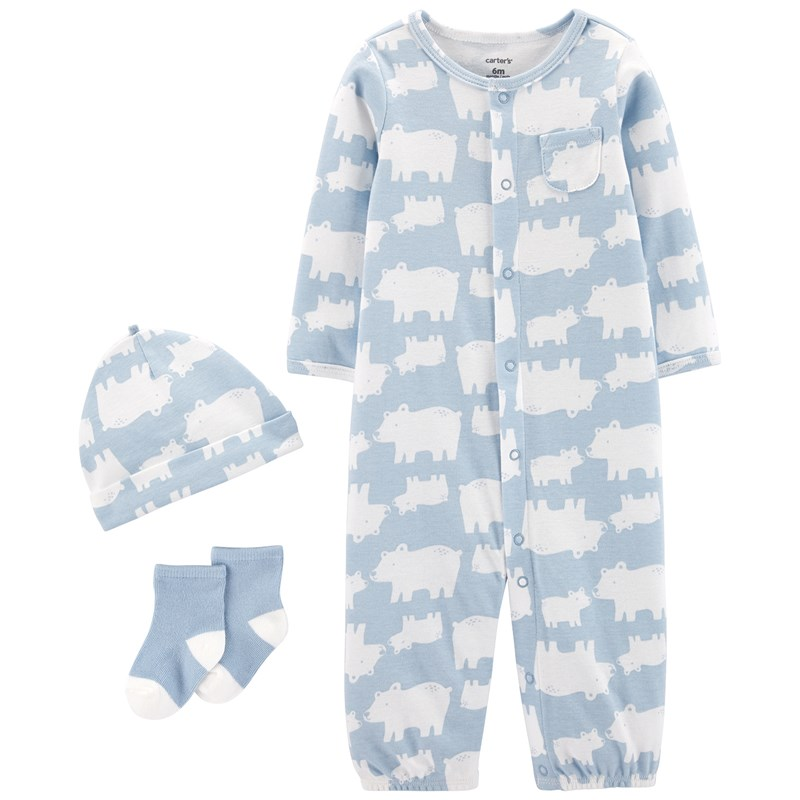 Carter's 3-delar Babysoft Take-Me-Home Set Blå 9 mån