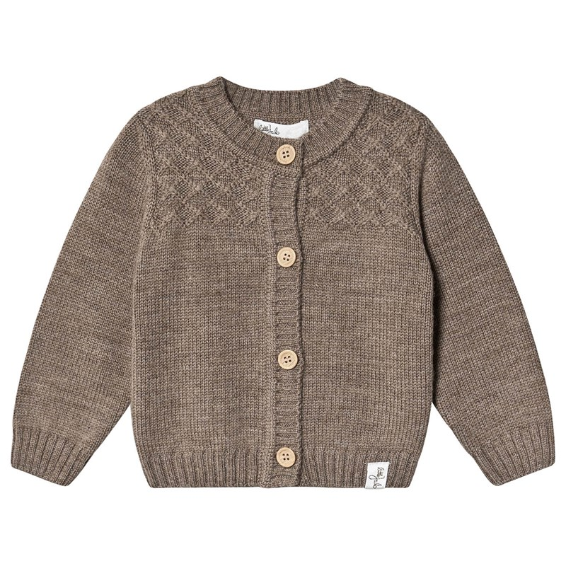 Little Jalo Knitted Baby Cardigan Wood Brown 74 cm