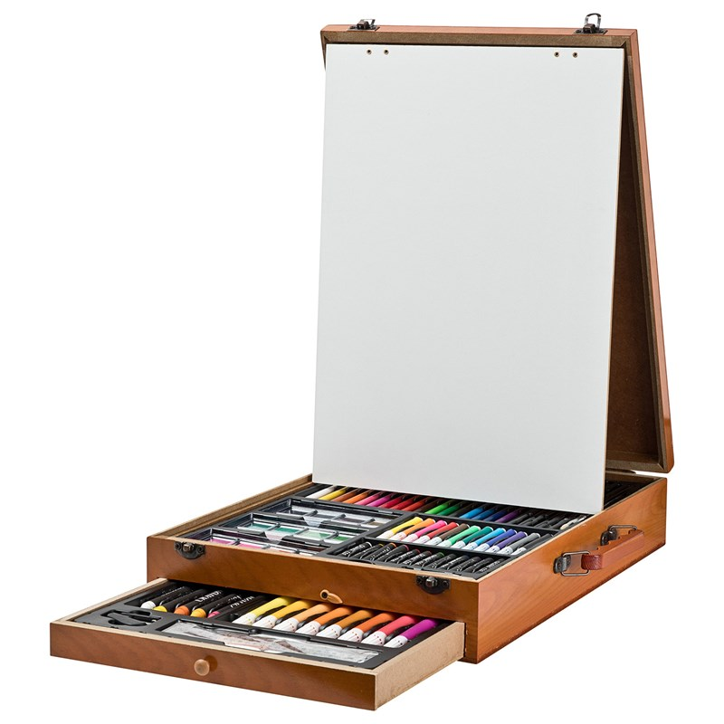 Bilde av Art Park Art Park Paint Kit Deluxe Wooden Box With Easel 122 Pcs 6+ Years
