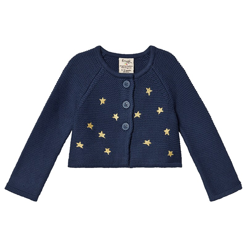 Frugi Navy Organic Knitted Cardigan with Embroidered Gold Stars 6-12 months