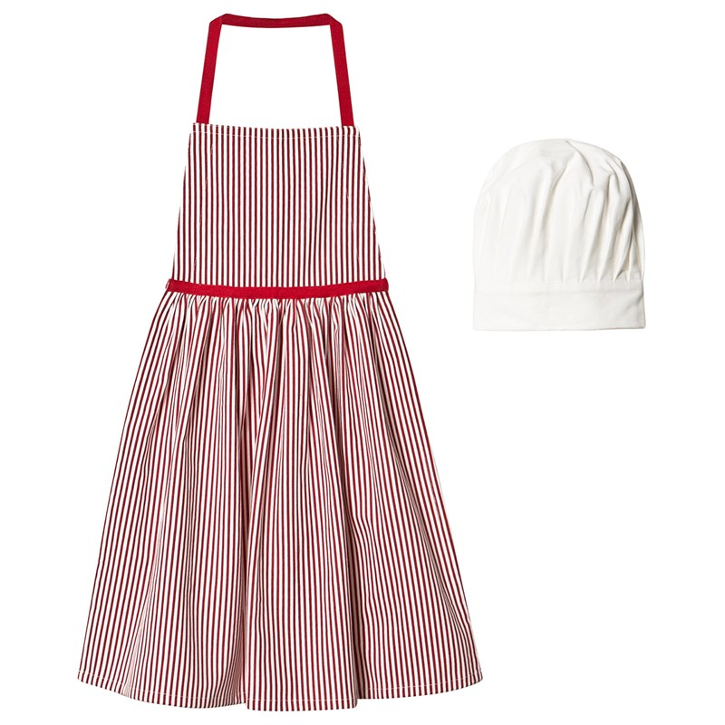 Christmas Kids Striped Apron with Hat Red/White One Size