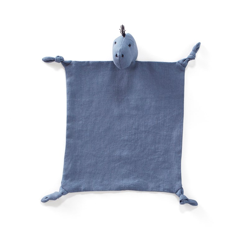 Kids Concept Linen Blanket Dino, Blue 0 - 3 years