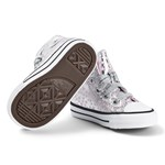Converse Silver Metallic Chuck Taylor All Star Infants Hi Tops Sneakers Rosa
