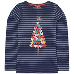 Joules Harbour Luxe Christmas Tree Applique Tröja Marinblå