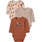 Hust&Claire 3-Pack Betram Baby Bodys Wheat