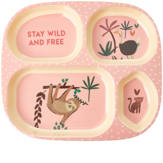 Rice Melamine Kids 4 Room Plate with Pink Jungle Animals Print